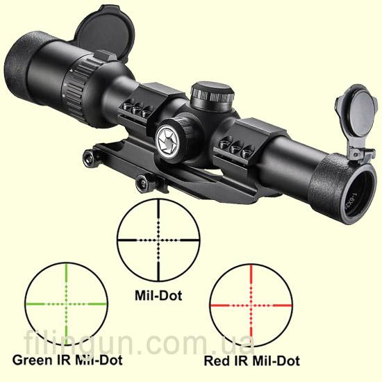 Оптичний приціл Barska AR6 Tactical 1-6x24 (IR Mil-Dot R/G)