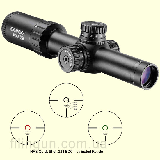 Оптичний приціл Barska Level HD 1-4x24 (IR HRS .223 BDC R/G)