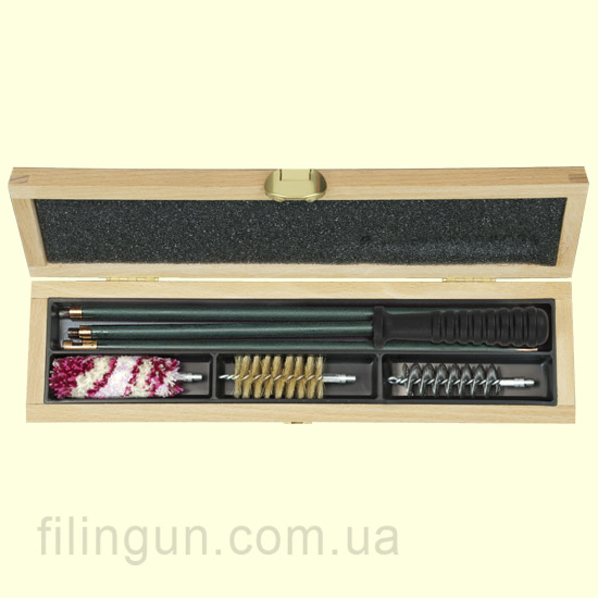 Набір для чищення MegaLine 12 калібр дерев'яний пенал (шомпол в оплетке)