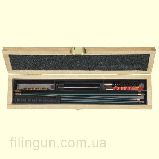 Набор для чистки MegaLine 7 калибр деревянный пенал (шомпол в оплетке)