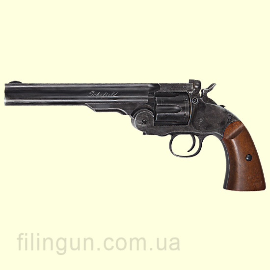 "Револьвер пневматический ASG Schofield 6"" Aging BK & Wooden Grip - фото"