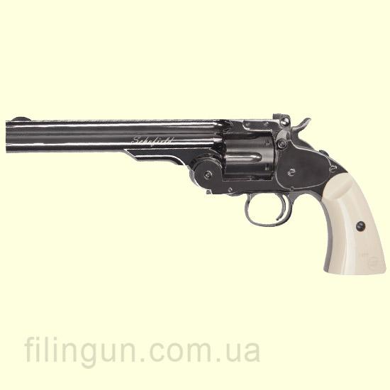 """Револьвер пневматичний ASG Schofield 6"""" Plated Steel GY & Ivory Grip"""