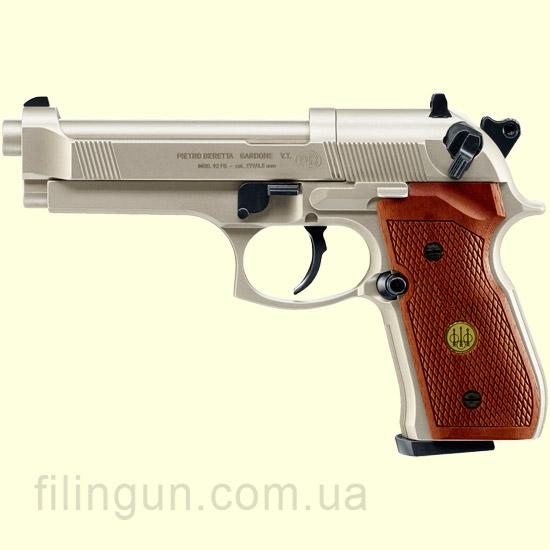 Пневматичний пістолет Beretta M 92 FS нікель дерево
