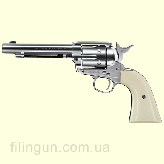 "Пневматический револьвер Colt SAA .45-5.5"" Nickel Finish"