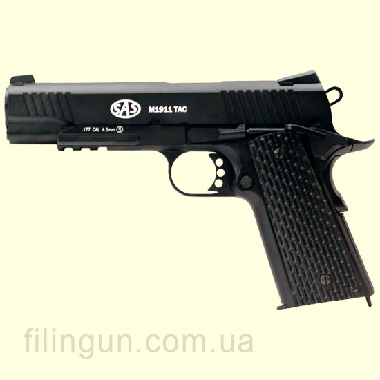 Пистолет пневматический SAS M1911 Tactical Blowback (KMB-77AHN)