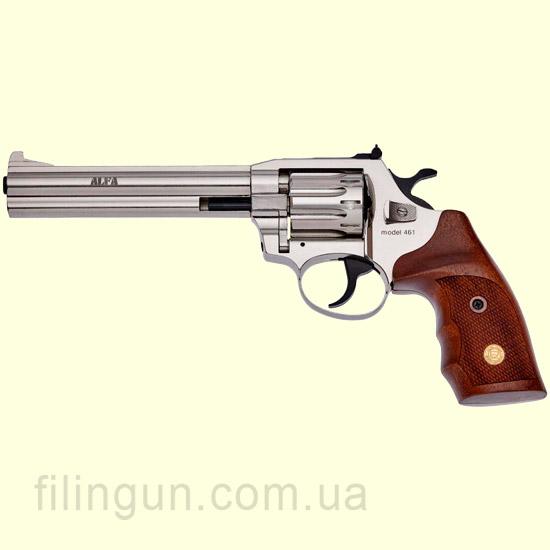 Револьвер под патрон Флобера Alfa мод 461 4 мм никель орех - фото