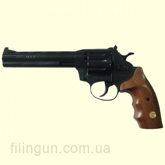"""Револьвер під патрон Флобера Alfa мод 461 6"""" (вороніння, дерево)"""