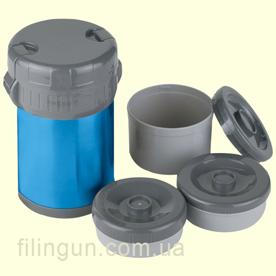 Термос для їжі Ferrino Inox Lunch Jug з 3 контейнерами 1.5 L Blue