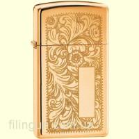 Зажигалка Zippo 1652B Slim Brass Venetian