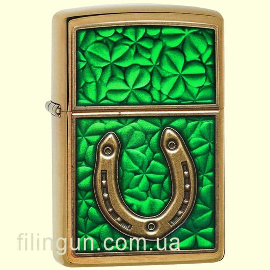 Запальничка Zippo 29243 Horseshoe on Shamrock Pattern - фото