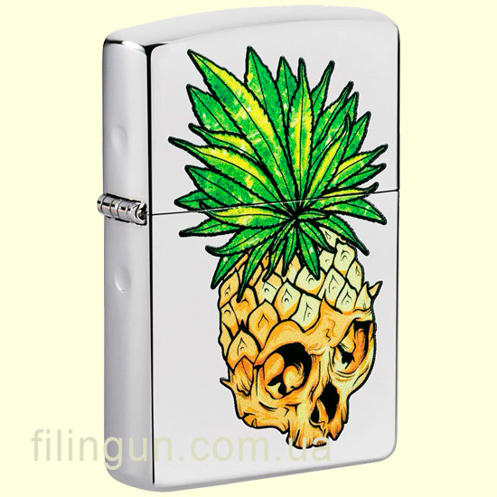 Зажигалка Zippo 49241 Leaf Skull Pineapple Design High Polish Chrome