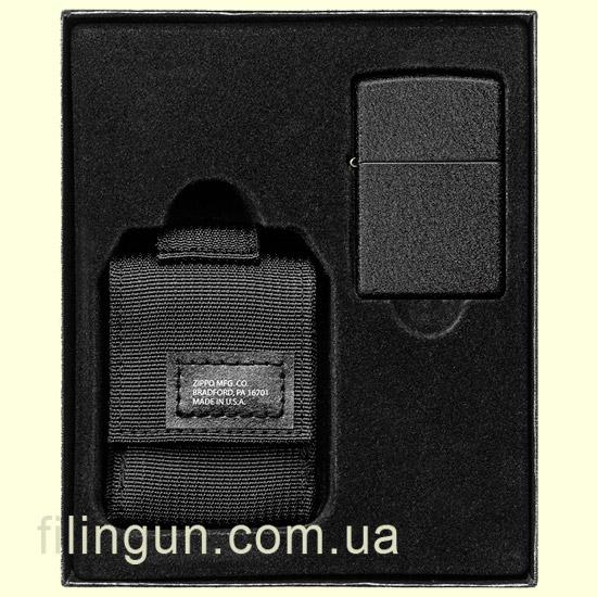 Подарочный набор Zippo 49402 Black Crackle Lighter and Tactical Pouch Black Gift Set