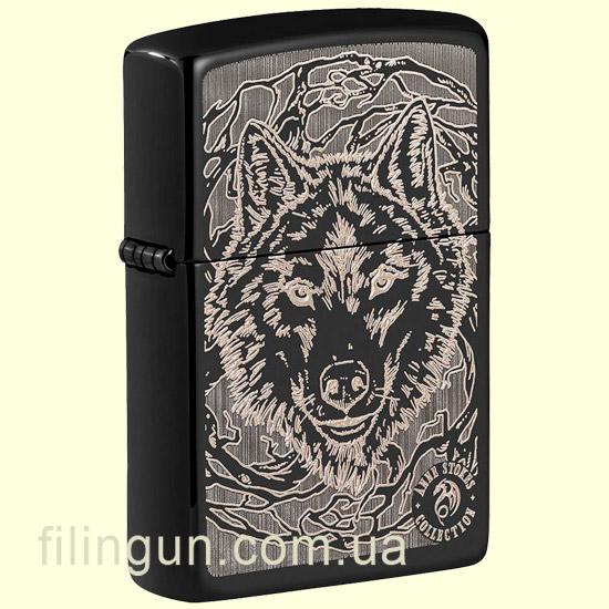 Зажигалка Zippo 49443 ANNE STOKES Wolf High Polish Black