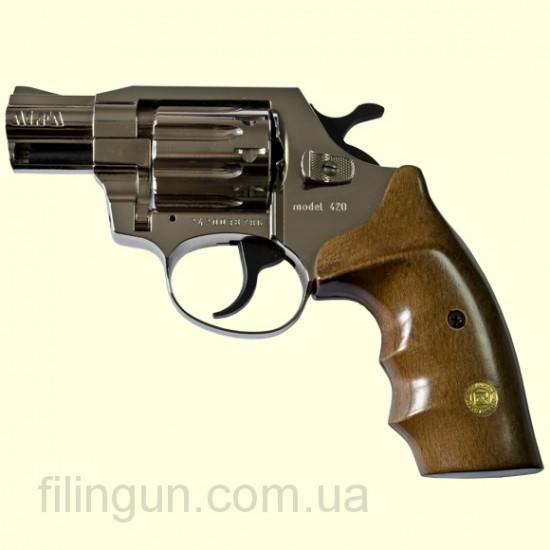 "Револьвер под патрон Флобера Alfa мод 420 2"" (никель, дерево) - фото"