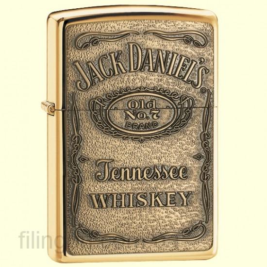 Зажигалка Zippo 254BJD.428 Jack Daniels Label Brass Emblem - фото