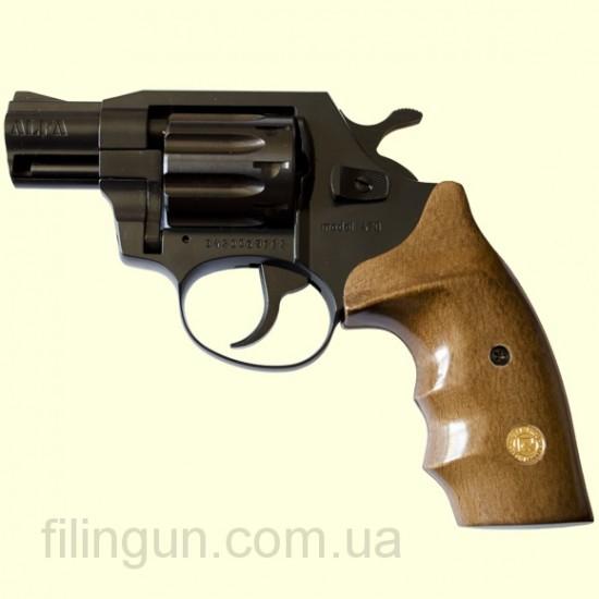 """Револьвер под патрон Флобера Alfa мод 420 2"""" (вороненный, дерево)"""