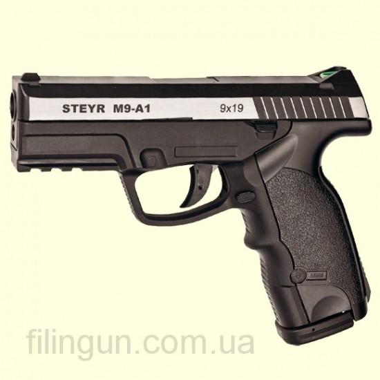 Пневматический пистолет ASG Steyr M9-A1 вставка никель DT