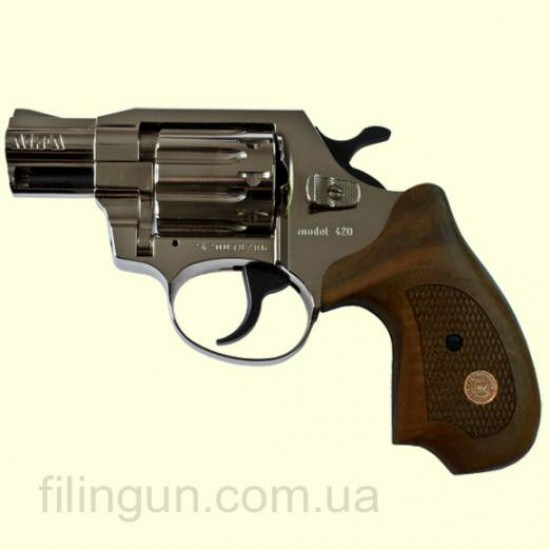 Револьвер под патрон Флобера Alfa мод 420 Compact (никель, дерево)
