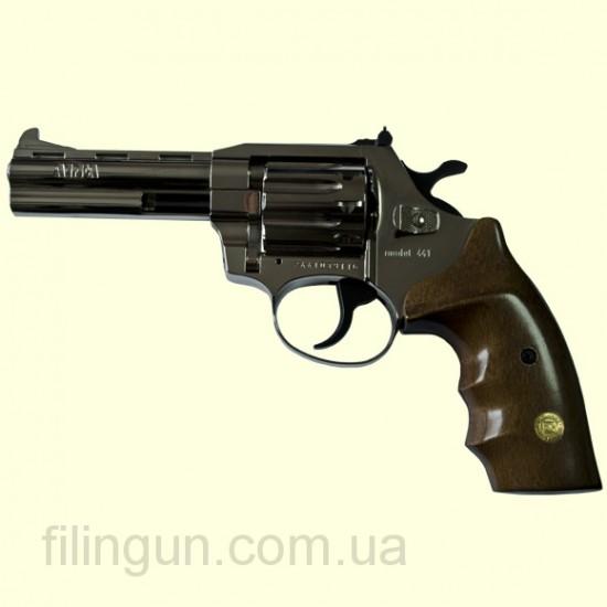"Револьвер под патрон Флобера Alfa мод 441 4"" (никель, дерево) - фото"